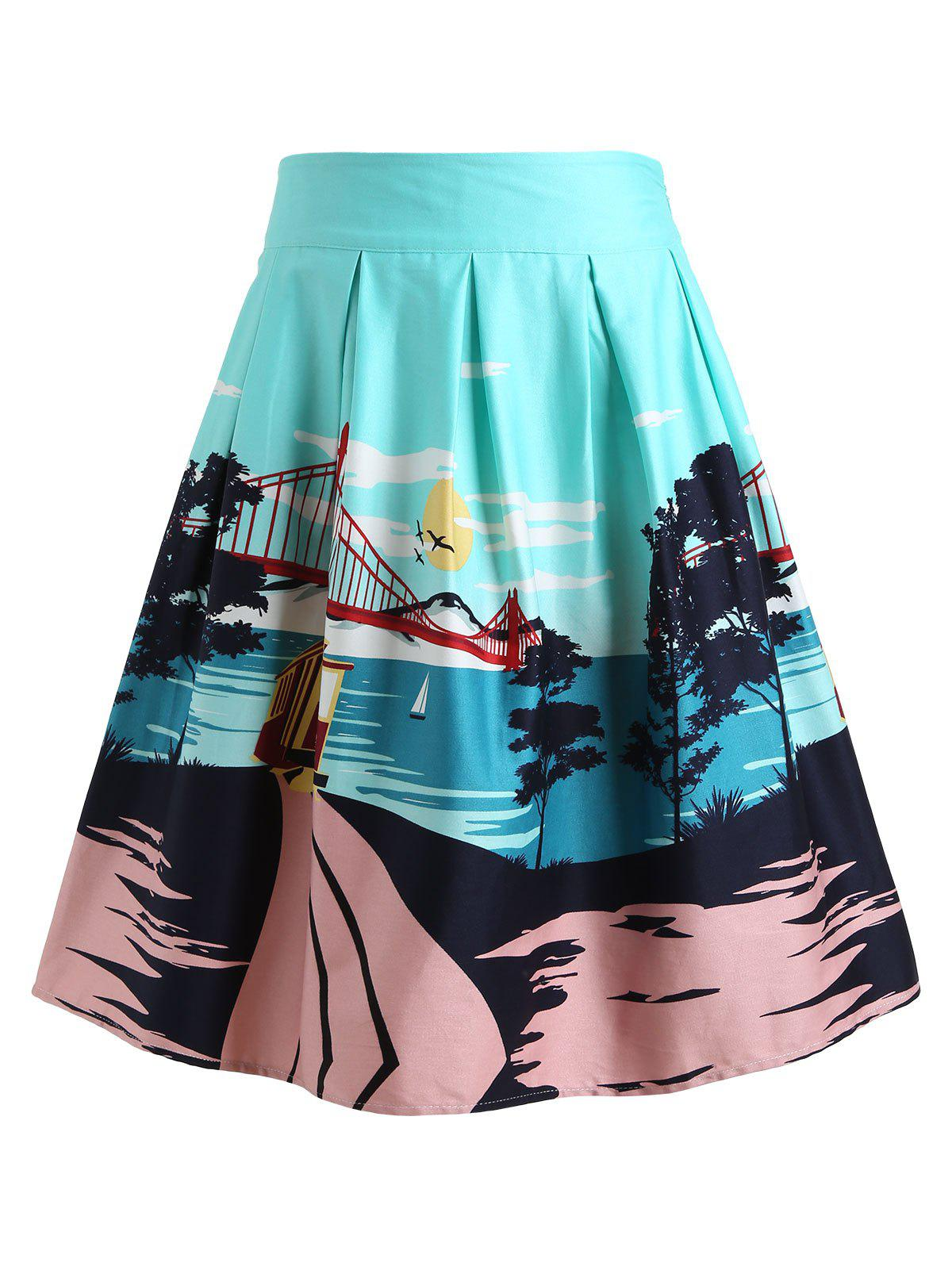 Cheap Bridge Landscape Print Skirt