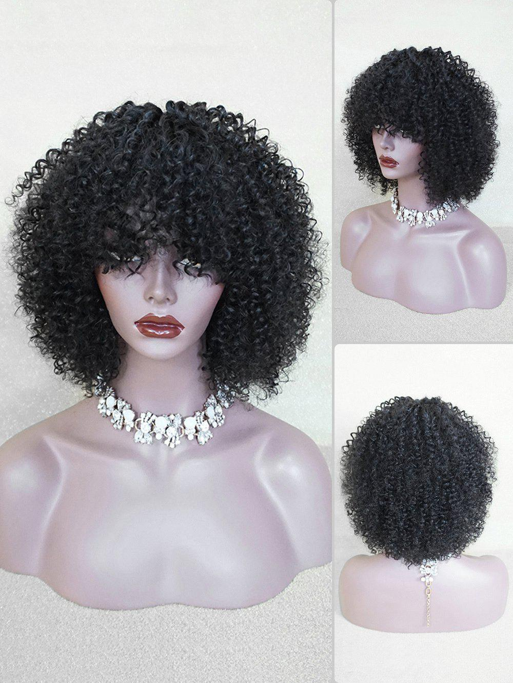 Store Medium Full Bang Fluffy Afro Kinky Curly Human Hair Wig