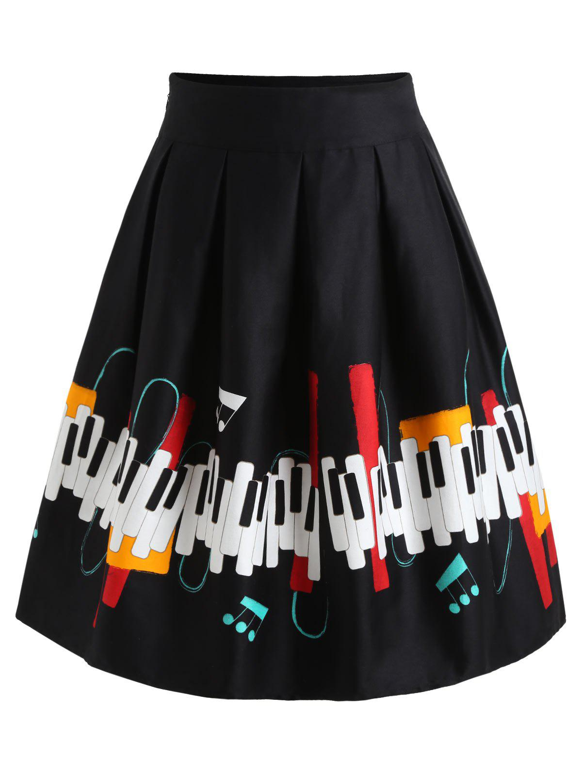 Cheap Piano Keys A Line Skirt