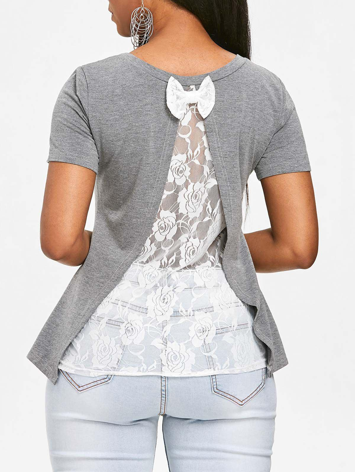 Store See Through Rose Lace Back T-shirt