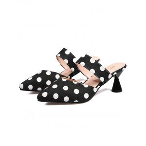 Mid Heel Retro Polka Dot Mules Shoes -