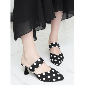 Pay With Visa Mid Heel Retro Polka Dot Mules Shoes - BLACK Cheap Sale Recommend stEJR