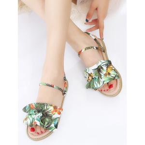 Leisure Ruffles Flat Heel Slide Sandals -