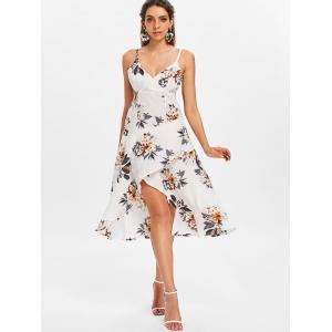 Spaghetti Strap Floral Print High Low Dress -