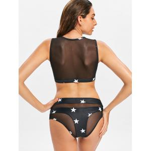 Star Mesh Panel High Leg Tankini Set -