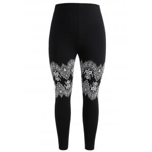 Plus Size Lace Print High Waist Leggings -
