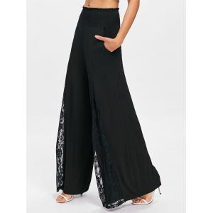 Lace Insert Wide Leg Pants -