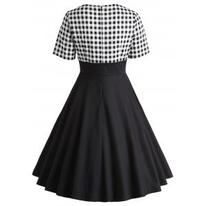 Retro Checked Bowknot Party Skater Dress -