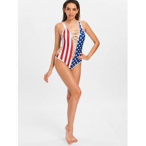 Patriotic American Flag Cirss Cross Swimsuit -