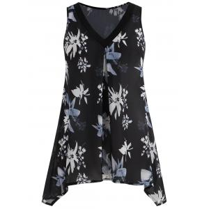 Plus Size Floral Sleeveless Blouse -