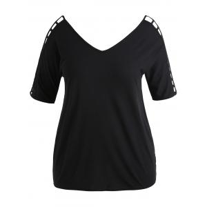 V Neck Cut Out Plus Size Tunic Tee -