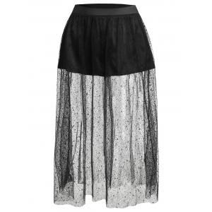 Plus Size Sheer Lace Skirt with Shorts -