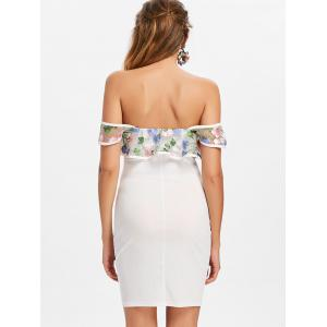 Embroidery Flounce Off The Shoulder Bodycon Dress -