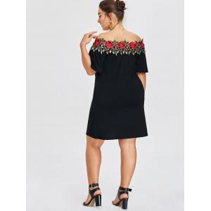 Plus Size Floral Embroidery Shift Dress -