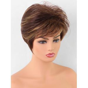 Inclined Bang Short Straight Colormix Synthetic Wig -