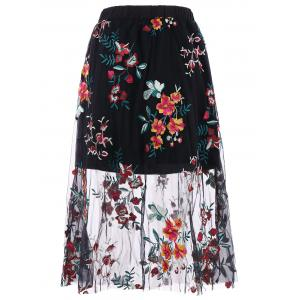 High Waisted Floral Embroidery Mesh Midi Skirt -