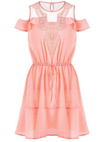 Cold Shoulder Smocked Waistbelt Dress