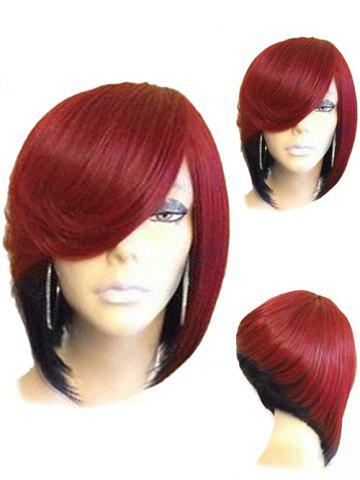 Affordable Short Side Parting Straight Inverted Bob Colormix Synthetic Wig
