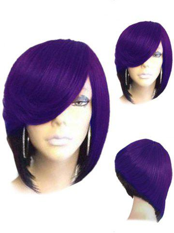 New Short Side Parting Straight Inverted Bob Colormix Synthetic Wig