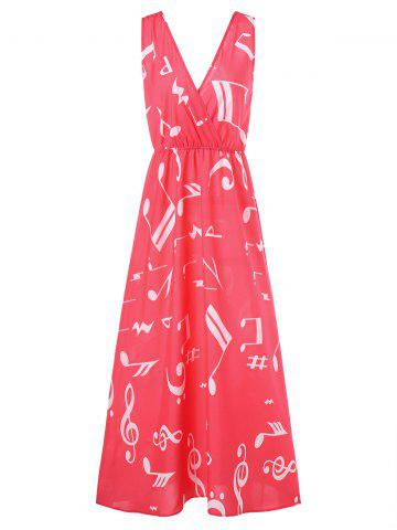 Best Musical Notes Print Maxi Surplice Dress