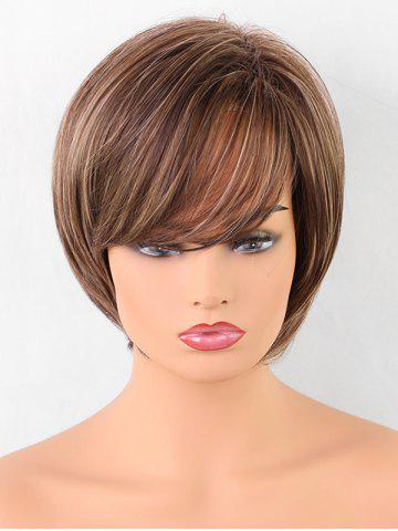 Best Short Oblique Bang Straight Colormix Synthetic Wig
