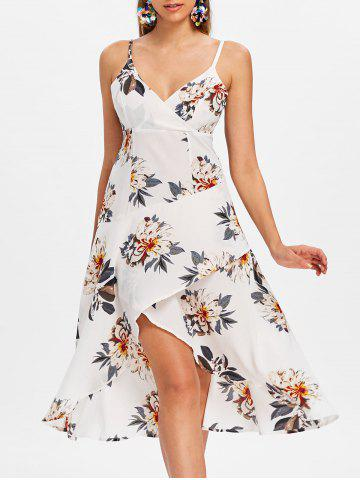 Store Spaghetti Strap Floral Print High Low Dress