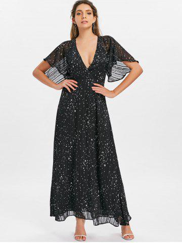 Plunge Cut Out Stars Print Maxi Party Dress