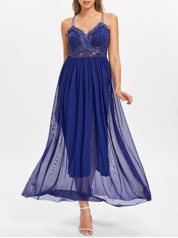 Strappy Backless Applique Maxi Dress