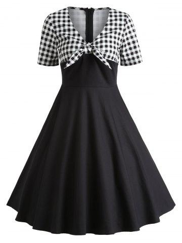 Sale Retro Checked Bowknot Party Skater Dress