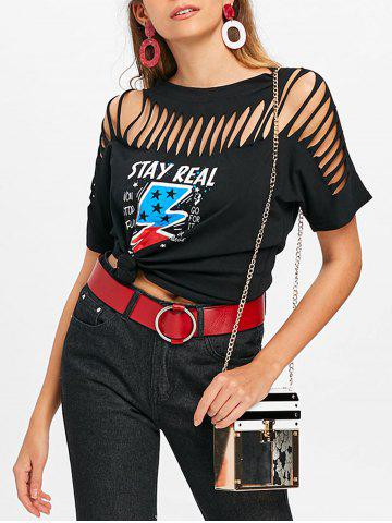 Store Cut Out Ripped Graphic Tee