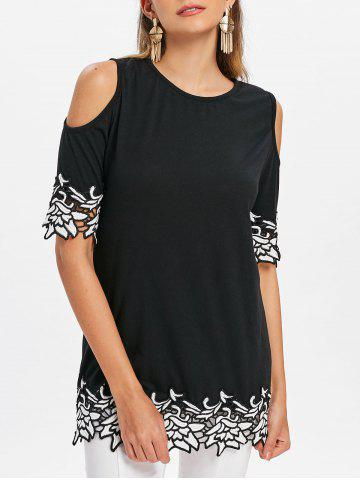 Buy Floral Embroidery Open Shoulder T-shirt