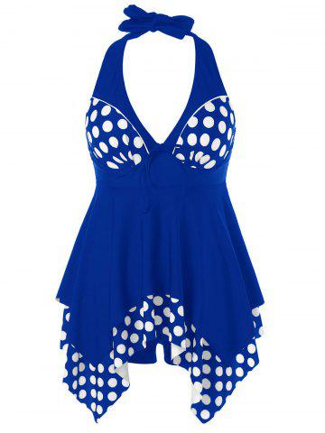 New Plus Size Polka Dot Skirted Tankini