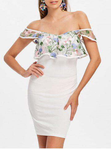 Chic Embroidery Flounce Off The Shoulder Bodycon Dress