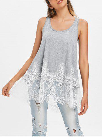 Hot Lace Trim Racerback Tank Top