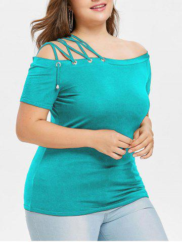 Buy Off Shoulder Lace Up Strappy Plus Size Tee
