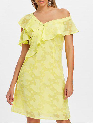 Buttoned Ruffle Knee Length Dress