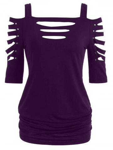 Fancy Cold Shoulder Ripped Sleeve T-shirt