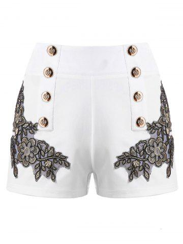 Affordable Metal Button Embroidery Shorts