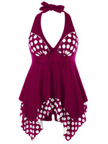 Sale Plus Size Polka Dot Skirted Tankini