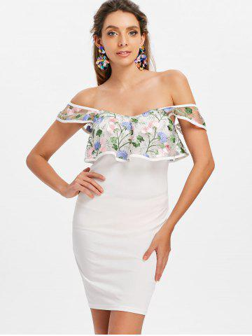 Embroidery Flounce Off The Shoulder Bodycon Dress