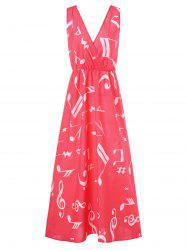 Musical Notes Print Maxi Surplice Dress -