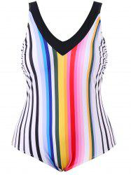 Plus Size Rainbow Stripe One Piece Backless Swimwear -