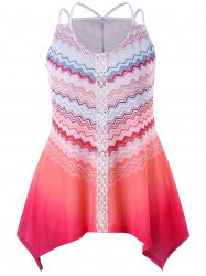 Plus Size Chevron Ombre Crescent Hem Tank Top -