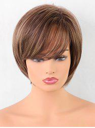 Short Oblique Bang Straight Colormix Synthetic Wig -
