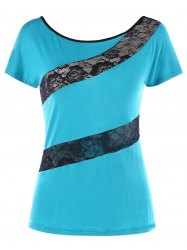 Lace Panel Hollow Out T-shirt -