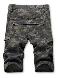 Zip Fly Multi-pocket Camo Print Cargo Shorts -