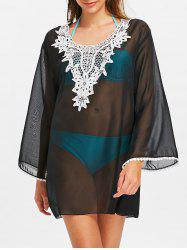 Chiffon Sheer Bell Sleeve Tunic Cover Up -