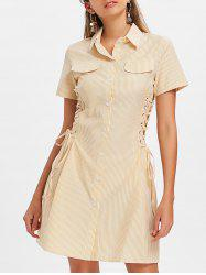 Button Up Lace-up Striped Dress -