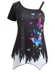 Плюс Размер Butterfly Skew Neck T-shirt -