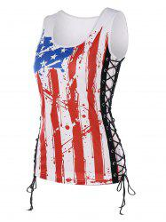 U Neck Lace Up American Flag Tank Top -